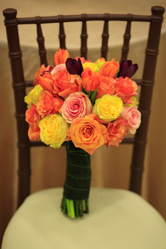 The Finesse Yellow Roses,Milva Orange and Pink bi-colored Roses and Geraldine Pale Pink Roses